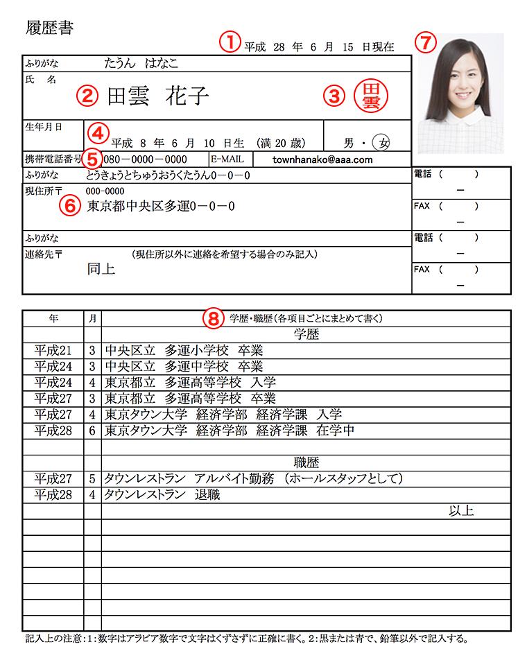 バイト用の履歴書の見本(氏名・住所・生年月日・