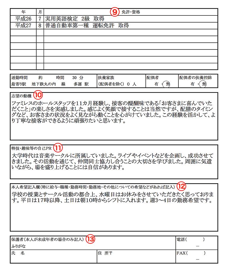 バイト用の履歴書の見本(アルバイト用の資格・志望動機・